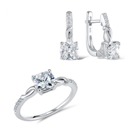 Jewelry Sets For Women White Cubic Zirconia Jewelry Set Ring Earrings Pure 925 Sterling Silver