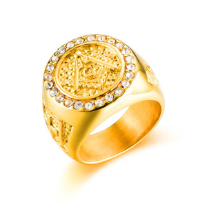 HIP Hop Bling Iced Out Men Masonic Rings Stainless Steel Micro Pave Rhinestone Rings Men Jewelry Gold Color