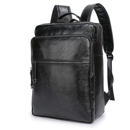 Brand Waterproof 15.6 Inch Laptop Backpack Men PU Leather Backpacks Teenager Men Casual