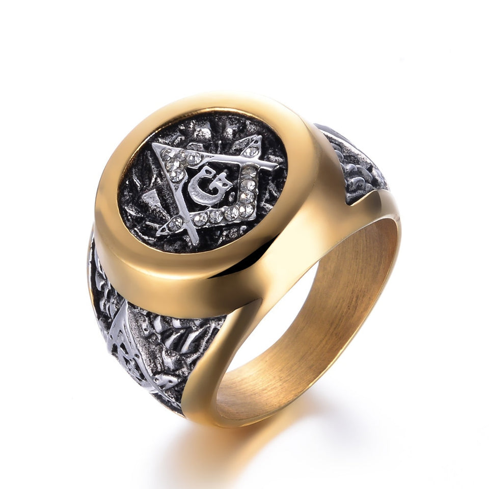 Rhinestones Paved Stainless Steel Masonic Ring Symbol G Templar - GiftWorldStyle - Luxury Jewelry and Accessories