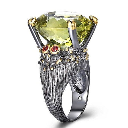 Highly Big Ring for Women Genuine Cut Olivine Oval Zircon Have Party Jewelry