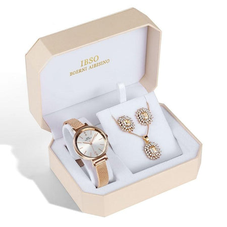Women's Crystal Earrings, Necklace and Mesh Bracelet Watch Set