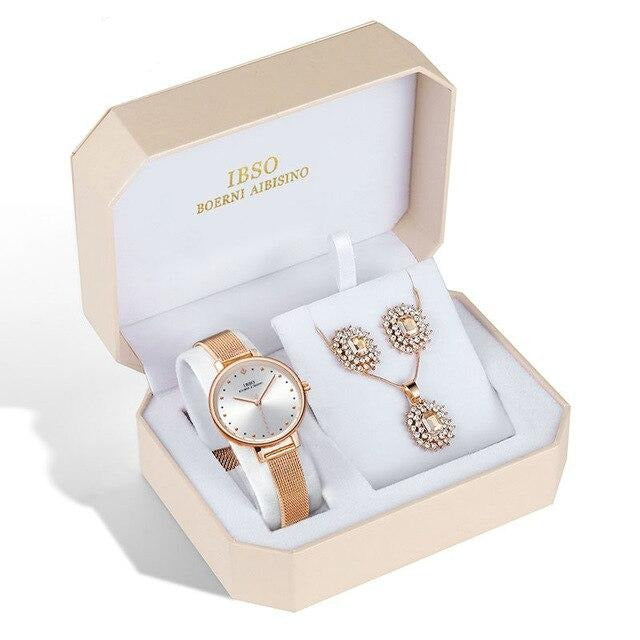 Women's Crystal Earrings, Necklace and Mesh Bracelet Watch Set - GiftWorldStyle - Luxury Jewelry and Accessories