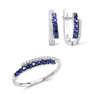 Jewelry Set for Women Blue Nano Cubic Zirconia Jewelry Set Earrings Ring Set 925 Sterling Silver