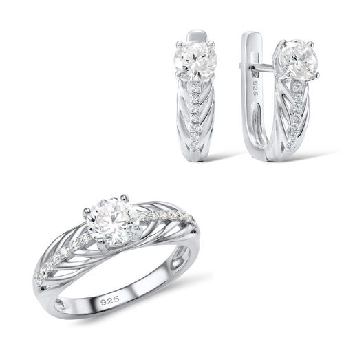 Santuzza Jewelry Sets Women White Cubic Zirconia Set Ring Earrings Pure 925 Sterling Silver