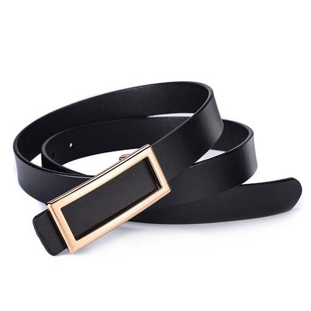 Thin Belt for Women Genuine Leather Metal Buckle