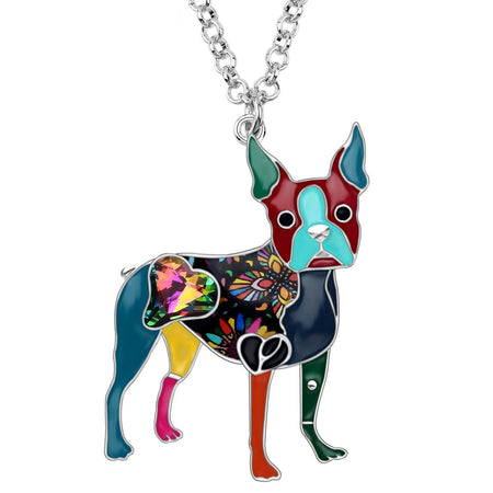 Enamel Alloy Crystal Rhinestone Boston Terrier Dog Necklace Pendant Cartoon Animal Jewelry