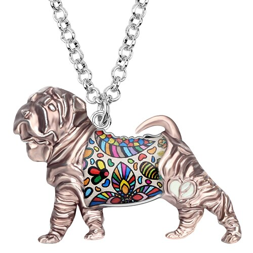 Shar Pei Dog Necklace From Enamel Alloy With Colorful Flower