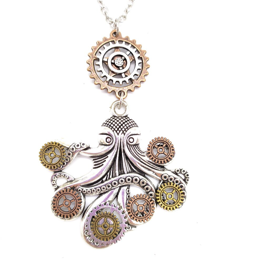 Women`s Steampunk Necklace With Octopus Gears Claws Pendant - GiftWorldStyle - Luxury Jewelry and Accessories