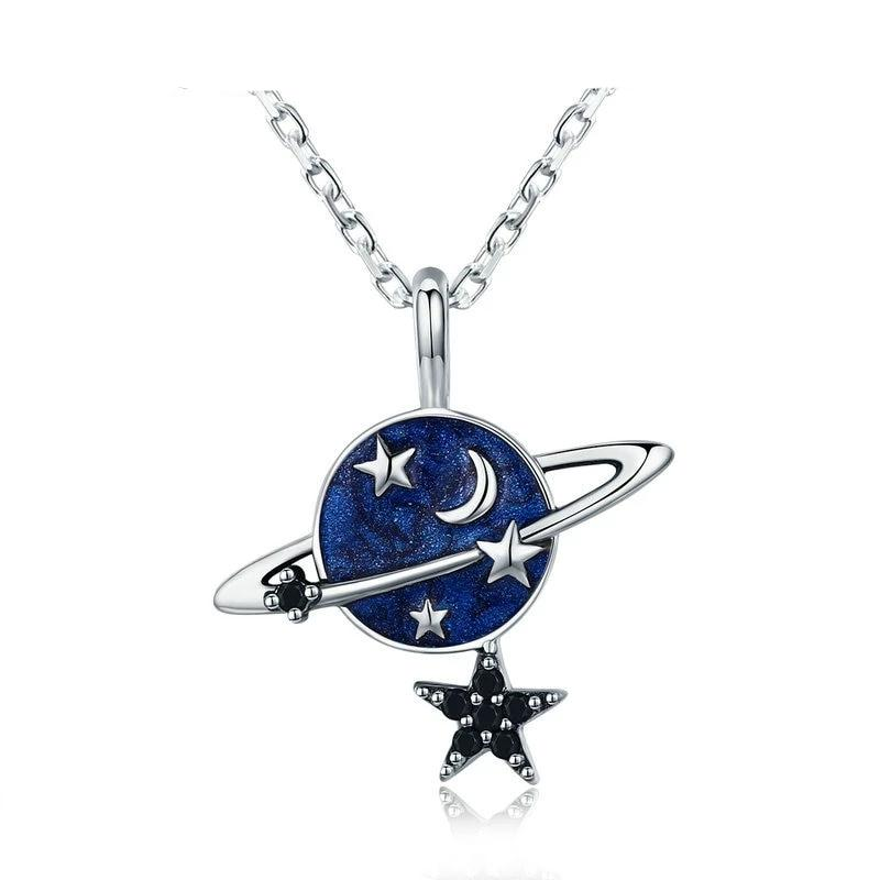 Secret Planet Sparkling Star Pendant Necklace - 925 Sterling Silver