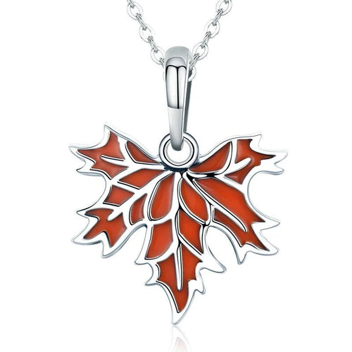 Autumn Maple Tree Leaves Pendant Necklace - 925 Sterling Silver
