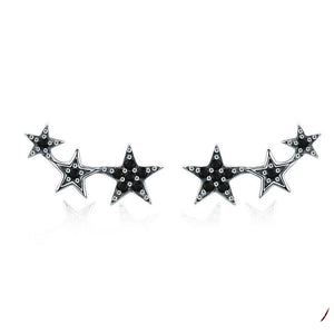 Authentic 925 Sterling Silver Stackable Star Black CZ Stud Earrings Women Sterling Silver Jewelry