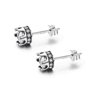 100% 925 Sterling Silver Princess Crown Luminous Clear CZ Stud Earrings Women Jewelry