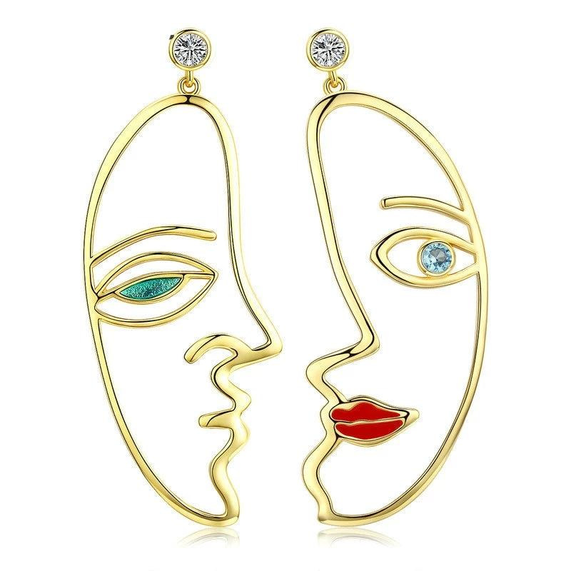 Silver Color Hyperbole Picasso Face Drop Earrings for Women Clear CZ Wedding Engagement Jewelry