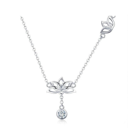 Lotus Flower Pendant Necklace With Clear Zirconia - 925 Sterling Silver