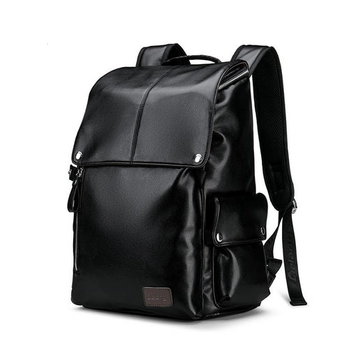 Men Backpack PU Leather Male Functional Waterproof Black Backpack Men School Bags Laptop Teenager