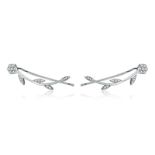 Flower Tree Leaves Drop Earrings - 925 Sterling Silver, Clear CZ - GiftWorldStyle - Luxury Jewelry and Accessories