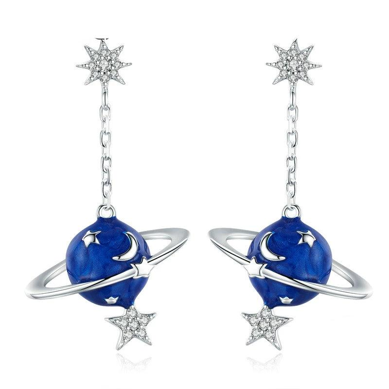 Secret Planet Moon Star Drop Earrings - Clear Cubic Zircon, 925 Silver