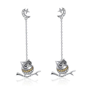Authentic 925 Sterling Silver Cute Owl Long Chain Drop Earrings Women Moon Clear CZ Jewelry