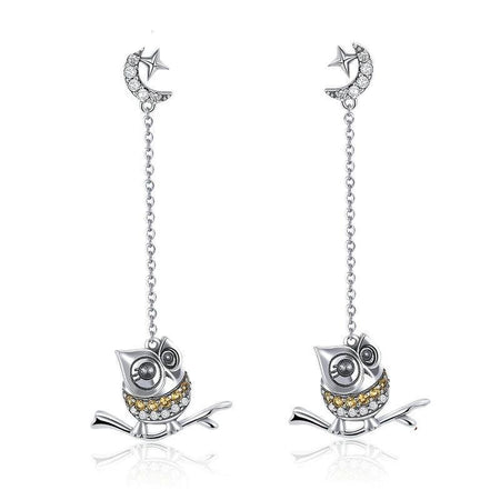925 Sterling Silver Cute Owl Long Chain Drop Earring - Clear CZ - GiftWorldStyle - Luxury Jewelry and Accessories