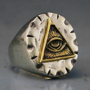 Men Stainless Steel Biker Ring Skull Gold Color Freemason Illuminati Triangle Masonic Rings Punk Jewelry
