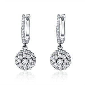 Authentic 925 Sterling Silver Shining Cubic Zircon Round Circle Drop Earrings Women Wedding Engagement Jewelry
