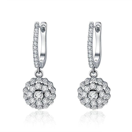 Round Circle Drop Earrings - 925 Sterling Silver, Cubic Zirconia - GiftWorldStyle - Luxury Jewelry and Accessories