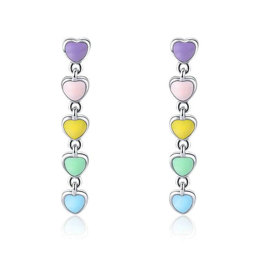 Rainbow Heart Enamel Drop Earrings - 925 Sterling Silver - GiftWorldStyle - Luxury Jewelry and Accessories
