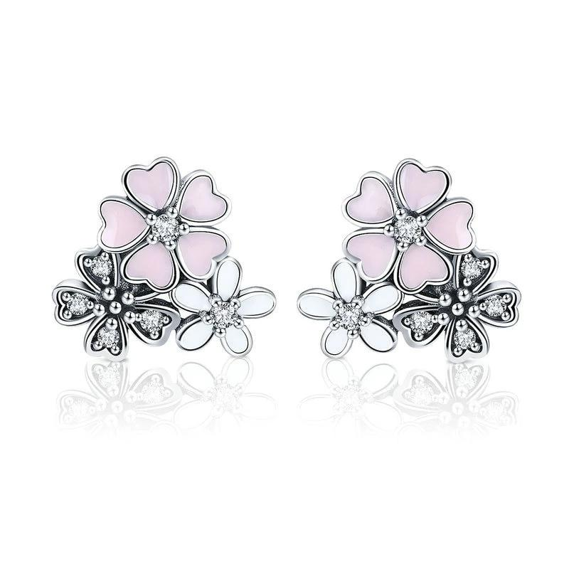 Pink Daisy Cherry Blossoms Flower Stud Earrings - 925 Sterling Silver