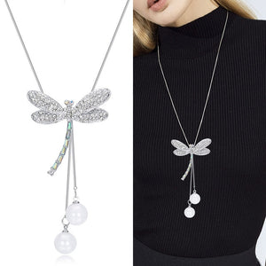 Fashion Necklace Women Jewelry Crystal Insect Dragonfly Long Pendants Silver Pearl Collier