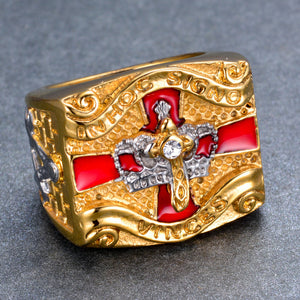 Stainless Steel Knight Templar Masonic Ring Gold Color Cross Crown Rings for Men