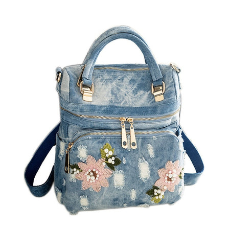 Denim Backpack With Hard Handle And Flower Embroidery