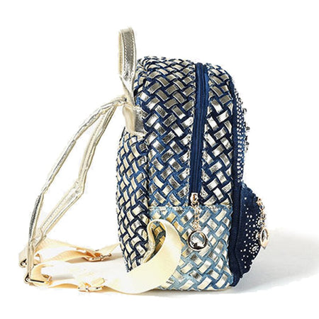 Denim Backpack For Women With Shiny Handles And Stones