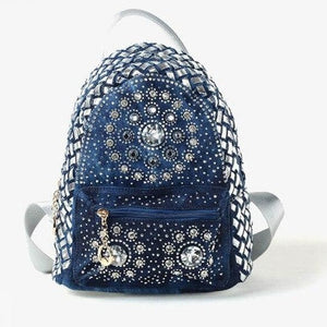 Denim Backpack For Women With Shiny Handles And Stones - GiftWorldStyle - Luxury Jewelry and Accessories