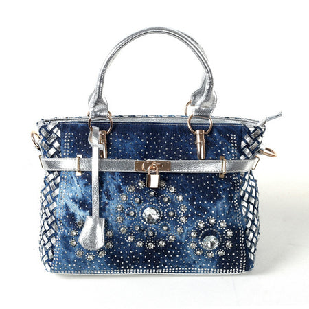 Patchwork Women Shoulder Bag In Jean Style And Crystal Decoration