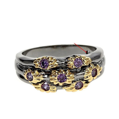 Neo-Gothic Rings for Women Wedding Band Golden Flowers with Purple Zircon Fashion Jewlery