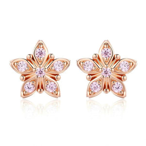 Exquisite Pink Flower Stud Earrings - 925 Sterling Silver