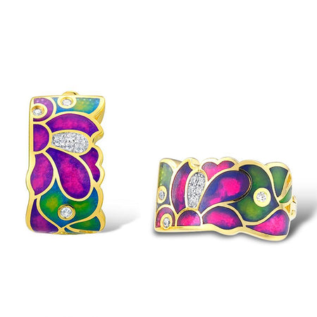 Jewelry Set Colorful Enamel White CZ Stones Ring Earrings 925 Sterling Silver Women