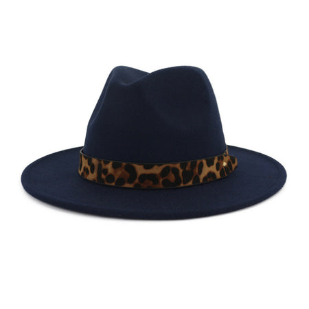 Leopard Print Belt Fedora Hat - GiftWorldStyle - Luxury Jewelry and Accessories