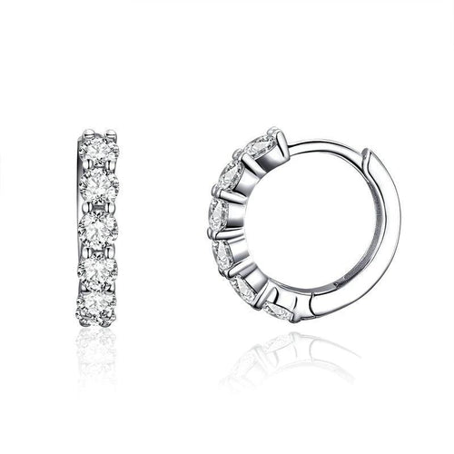 Cubic Tiny Hoops Earrings  - 925 Sterling Silver