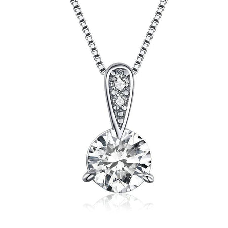 Authentic 925 Sterling Silver Clear CZ Radiant Dazzling Minimalist Pendant Necklace Women Box Chain Necklace