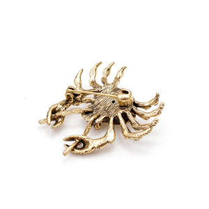 Rhinestone Crab Animal Brooch Pin