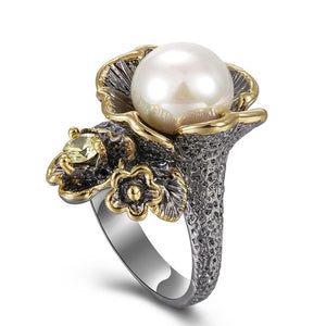 Flower Ring From Olivine Zircon And White Pearl - GiftWorldStyle - Luxury Jewelry and Accessories