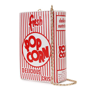 Fashion Popcorn Red Stripe Design Girl's Chain Purse Shoulder Bag Tote Crossbody Bag Women Casual Clutch Bag Flap Pu Handbag