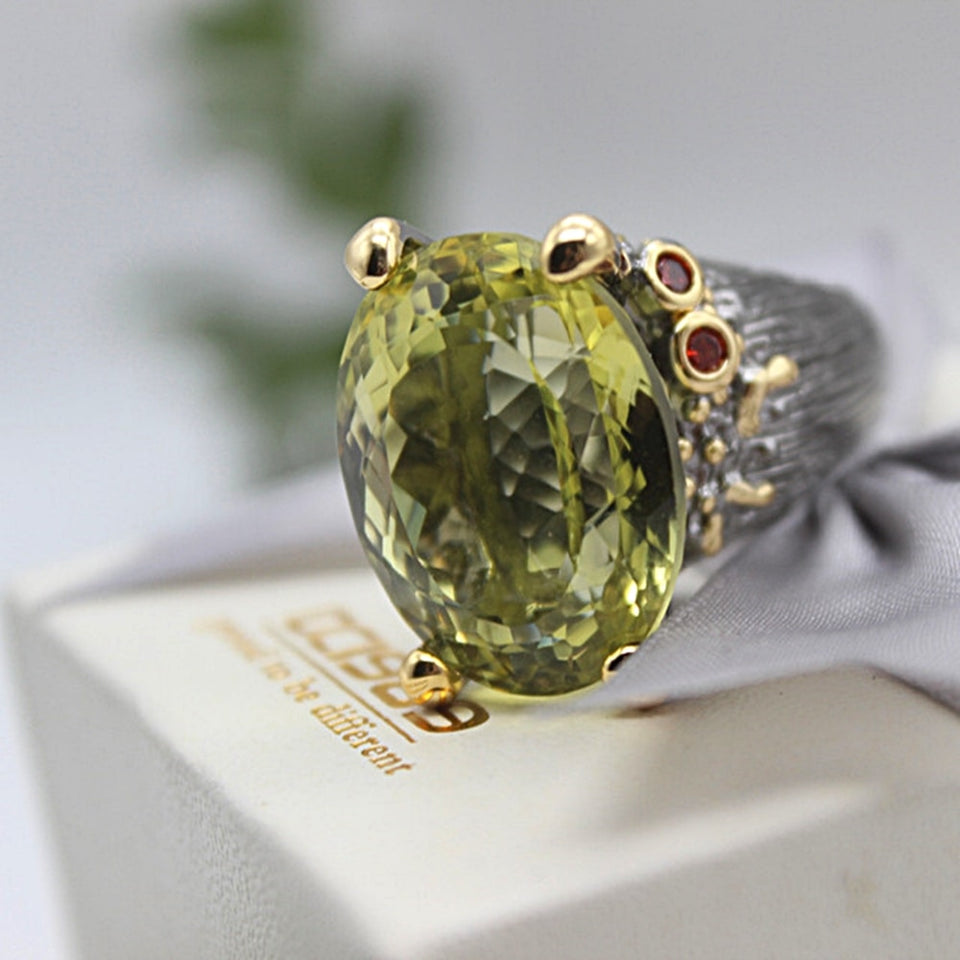 Highly Big Ring For Women Genuine Cut Olivine Oval Zircon