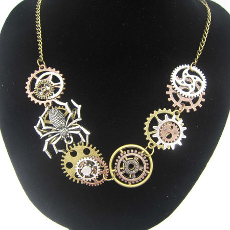 Women`s Steampunk Short Necklace With Spider Climbing on The Gears