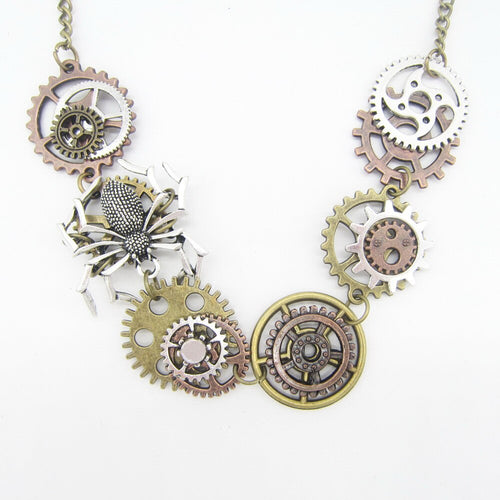 Women`s Steampunk Short Necklace With Spider Climbing on The Gears - GiftWorldStyle - Luxury Jewelry and Accessories