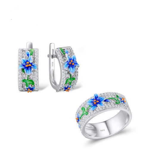 Silver Jewelry Set For Woman Blue Flower Ring Earrings 925 Sterling Silver Party Fashion