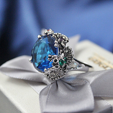 Big Blue Cubic Zirconia Ring for Wedding Anti Rhodium Color Royal Crown Look Women Party Jewels