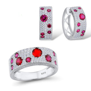 Silver Jewelry Set for Women Natural Red Stones Set Stud Earrings Ring Set 925 Sterling Silver
